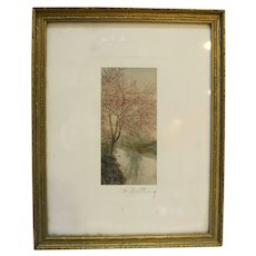 Wallace Nutting Framed Print Signed Tree in Bloom Early 1900s