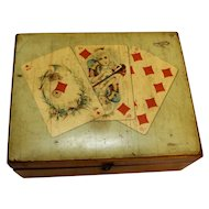 Mauchline Ware Thread Box Playing Cards C. 1910
