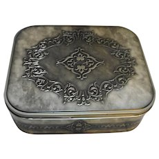 Decorative Embossed Gunmetal Grey Metal Box Tin 11 x 9 x 3 3/4 IN
