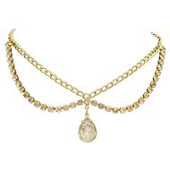 Clear Rhinestone Teardrop Pendant Gold Tone Necklace Unsigned