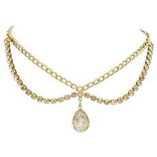 Clear Rhinestone Teardrop Pendant Gold Tone Necklace Unsigned