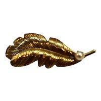 Gold Tone Leaf Cultured Pearl Pin