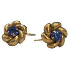 Cornflower Blue Rhinestone Brass Flower Earrings