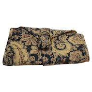Paisley Beige Blue Jewelry Organizer Travel Roll Up Pouch