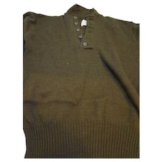 US Army Henley 5 Button Wool Sweater Brown Large