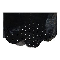 Black Velvet Clear Rhinestones Wrap Shawl Evening