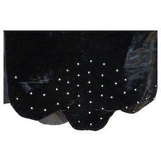 Black Velvet Clear Rhinestones Wrap Shawl Evening