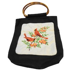 Cardinals Quilted Panel Black Canvas Tote Lieberman's Lansing