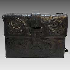 Black Tooled Leather Roses Purse Red Lining