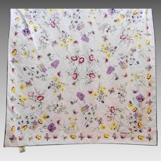 Jordache Accestra Lavender Purple Butterflies Floral Scarf Polyester