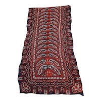 Red Navy Blue Paisley Silk Scarf Long 38 IN
