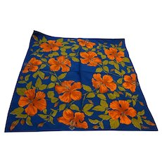 Vera 1970s-80s Blue Orange Fall Colors Floral Scarf 21 IN