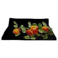 Feiler Made in Germany Black Chenille Towel Fruit Apple Peach Cherry