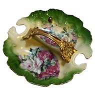 Victoria Austria Divided Porcelain Dish Roses Transfer Hand Painted