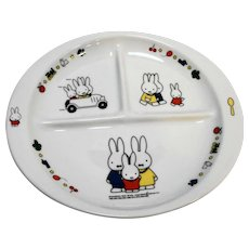 Dick Bruna Miffy Divided Porcelain Child's Plate Oval Bunnies