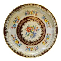 Daher Ware Floral Round Tray Raised Center Burgundy Gold White 13 IN