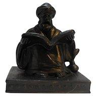 Aronson Art Deco Bronze Bookend Oriental Scholar With Turban