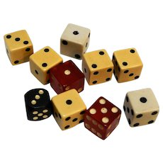Vintage Dice Lot Yellow Bakelite Red Lucite Black Wood