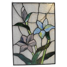 Stained Glass Window Panel Hanging 1980s Blue Mauve Flowers 11 x 16 IN