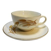 Homer Laughlin Golden Wheat Cup & Saucer