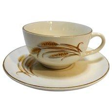 Homer Laughlin Golden Wheat Cup & Saucer