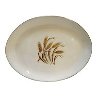 Homer Laughlin Golden Wheat Oval Platter 11 3/4 IN