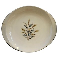 Canonsburg Pottery Wheat Blue Flowers 14 IN Oval Platter