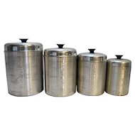 Spun Aluminum MCM Canister Set Made in Italy Flour Sugar Coffee Tea