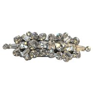 Rhinestone Rhodium Plated Three Part Sash Pin
