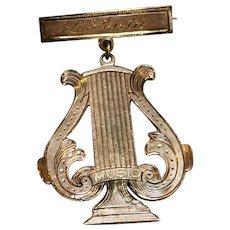 Copper Music Award Pin Harp Lyre Shape 1890s Engraved