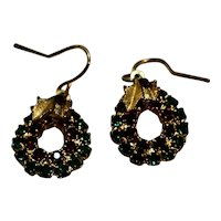 Christmas Wreath Rhinestone Earrings