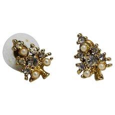Christmas Tree Earrings Rhinestone Faux Pearls