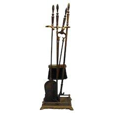 Brass Fireplace Tool Set Vintage 5 Pcs