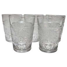 Duncan & Miller Sandwich Glass Clear 10 Oz Flat Tumblers Set of 5