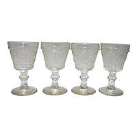 Duncan & Miller Sandwich Glass Clear Wine Glasses Set of 4