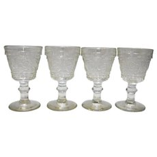 Duncan & Miller Sandwich Glass Clear Wine Glasses Set of 4