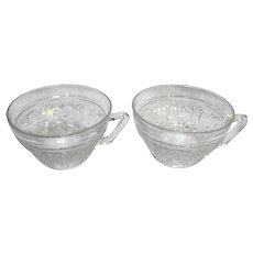 Duncan & Miller Sandwich Glass Clear 3 Cups 6 saucers
