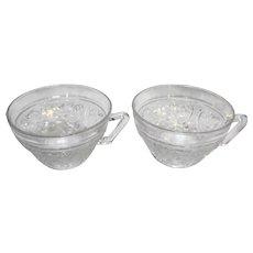 Duncan & Miller Sandwich Glass Clear Cups Pair