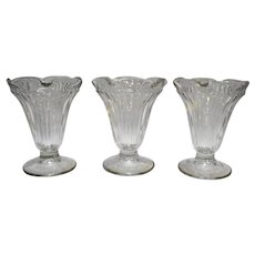 Jeannette Glass Sundae Dishes Set of 3 Tulip Shape Ribbed Signed