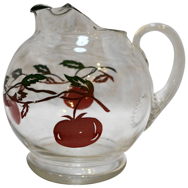 Superbe Tomato Decorated Small Clear Glass Pitcher 1950s 24 Oz 5 IN Juice Milk :  Hoosier Collectibles | Ruby Lane
