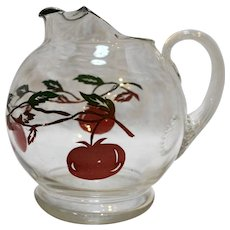 Tomato Decorated Small Clear Glass Pitcher 1950s 24 Oz 5 IN Juice Milk