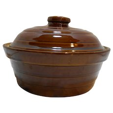 Monmouth Western Stoneware Ribbed Brown Glaze 2.25 Casserole With Lid
