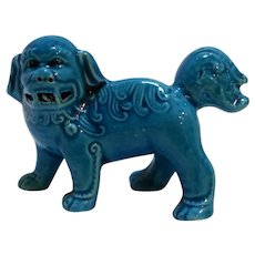 Chinese Foo Dog Export Porcelain Figurine Turquoise Monochrome Glaze 1800s