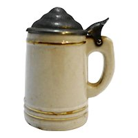 White Miniature Porcelain Stein With Lid 2 IN