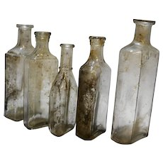 Glass Medicine Bottles Clear Group of 5 Antiques