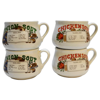 Chicken Soup Onion Soup Recipe Mugs Taiwan Pottery