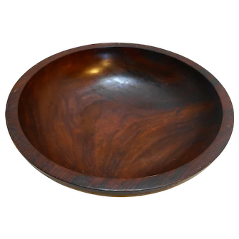 Mahogany Bowl Salad Serving Made in Haiti Vintage
