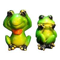 Frog Figurines Speak No Evil See No Evil Pair Hand Painted