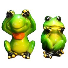 Frog Figurines Speak No Evil See No Evil Pair Hand Painted