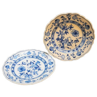 Meissen Blue Onion Salad Plates West Germany Pair
